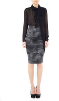 Nicole Miller Faux Leather Ponte Skirt