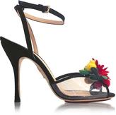Charlotte Olympia Tropicana Black Silk and PVC Sandal