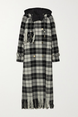Mother of Pearl Spencer Hooded Fringed Checked Wool Coat - Black