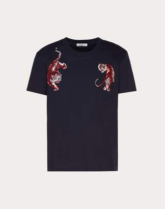 Valentino T-shirt With Go Tiger Patch Man Navy 100% Cotone M