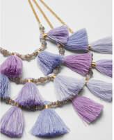 Express three row beaded tassel necklace