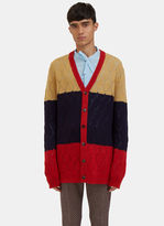Gucci Men's Oversized Block-coloured Knit Cardigan In Mustard, Navy And Red