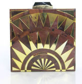 Kotur NWT Brown Gold Mirrored Chrysler Art Deco Clutch $1200