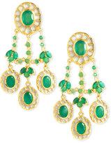 Green Onyx Chandelier Clip Earrings