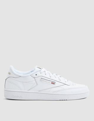 Reebok Women's Club C 85 Sneaker in White/Light Grey, Size 6 | Leather/Rubber/Textile