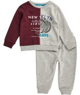 River Island Mini boys grey block varsity sweatshirt set
