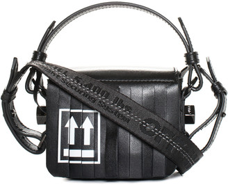 Off-White Black Leather Fringe Binder Clip Crossbody