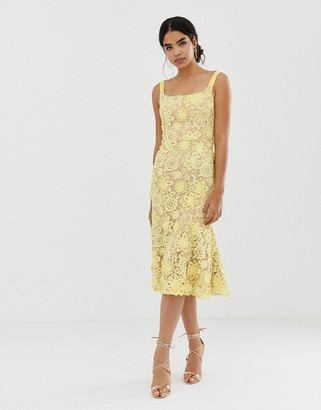 Jarlo square neck all over lace embroidered midi dress in yellow