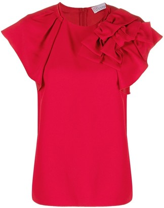 RED Valentino Bow-Detail Frill-Sleeve Blouse