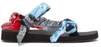 Arizona Love - Trekky Bandana-wrapped Velcro-strap Sandals - Womens - Light Blue