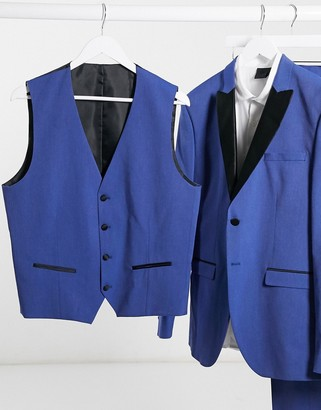 Selected blue skinny fit tuxedo double breasted waistcoat