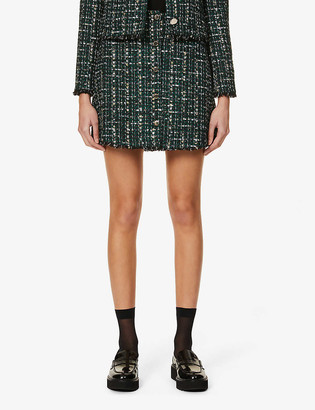 Ted Baker Button-front cotton-blend boucle mini skirt