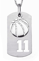 Zales Sterling Silver Basketball Charm & Sports Number Dog Tag Pendant