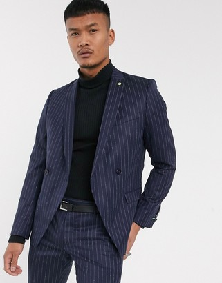 Twisted Tailor suit jacket in navy pinstripe