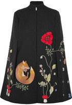Vilshenko Adelia Embellished Twill Cape - Black