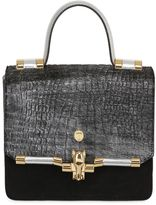 Trussardi Suede & Embossed Ponyskin Bag For Lvr