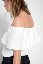 7 For All Mankind Off The Shoulder Top In Soft White