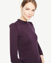 Ann Taylor Puff Sleeve Mock Neck Sweater