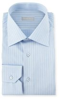 Stefano Ricci Striped Barrel-Cuff Dress Shirt, Blue