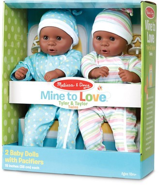 """Melissa & Doug Mine to Love Twins Tyler & Taylor 15"""" Dark Skin-Tone Boy and Girl Baby Dolls with Rompers, Caps, Pacifiers"""