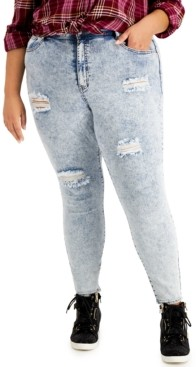 Dollhouse Trendy Plus Size High-Rise Acid Wash Distressed Skinny Ankle Jeans