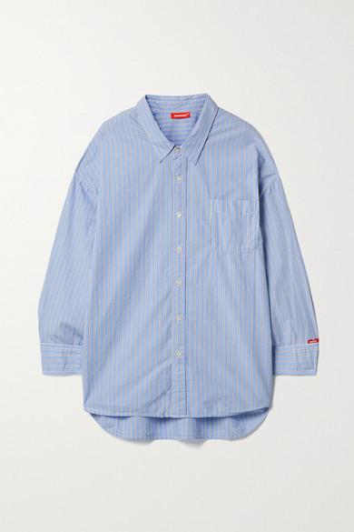 Thumbnail for your product : Denimist Striped Cotton-poplin Shirt - Light blue