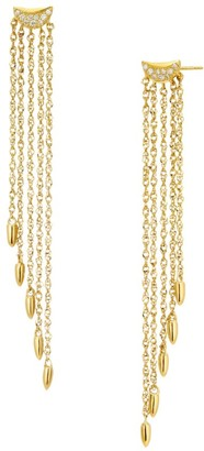 Celara 14K Gold & Diamond Chain Fringe Drop Earrings