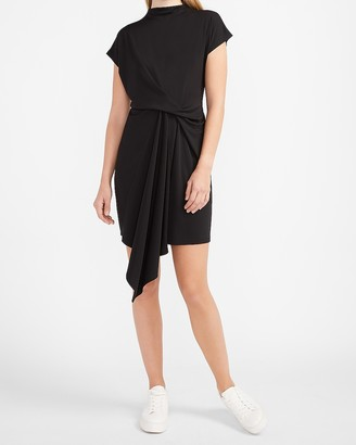 Express Draped Mock Neck Shift Dress