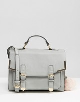Asos Satchel Bag With Metal Corners And Pom