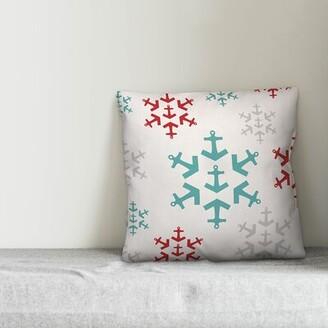 """Makena Anchor Snowflakes Throw Pillow The Holiday Aisle Size: 16"""" x 16"""""""