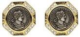 Ben-Amun Roman Coin Octagon Button Earrings