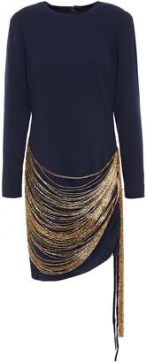 Oscar de la Renta Fringed Bead-embellished Wool-blend Crepe Mini Dress