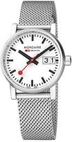 Mondaine Women's evo2 30mm sapphire Big Date Watch with St. Steel brushed Case white Dial and mesh bracelet Strap MSE.30210.SM
