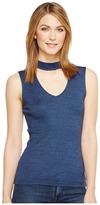 Michael Stars Shine V-Neck Choker Tank Top Women's Sleeveless