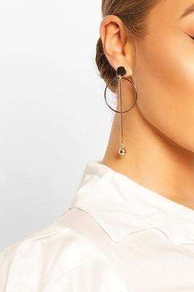 boohoo Circle & Ball Drop Earrings