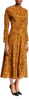 Aspesi Paisley-Print Long-Sleeve Midi Dress