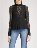 Free People No Limits embroidered-lace knitted top