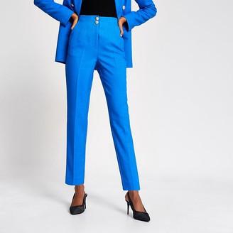 River Island Blue double button cigarette trousers
