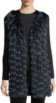 Neiman Marcus Luxury Cashmere Vest w/ Fox Fur Front & Sequin-Trim Back