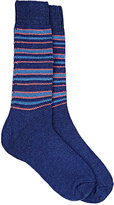 Barneys New York Men's Striped Cashmere-Blend Socks-BLUE, LIGHT BLUE, ORANGE