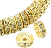 D.B.MOOD 100 Pcs Crystal Rondelle Spacer Bead Gold Plated 8mm Multicolor