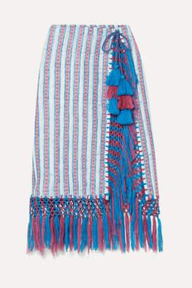 Jaline - Nieves Fringed Tasseled Cotton-gauze Pareo - Azure