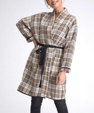 Milan Kiss Women's Tank Tops MINK-BEIGE - Black & Brown Plaid Tie-Waist Jacket - Women