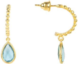 Latelita Palermo Beaded Hoop Gemstone Drop Earring Blue Topaz Gold