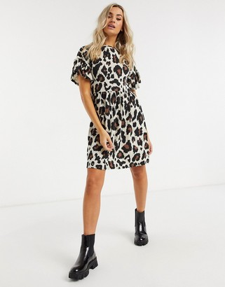 New Look frill-sleeved mini dress in brown animal print