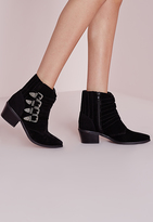 Missguided Western Buckle Ankle Boots