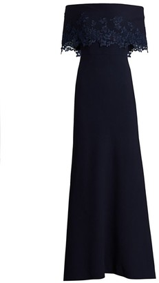 Lela Rose Off-The-Shoulder Embroidered-Lace Crepe Gown