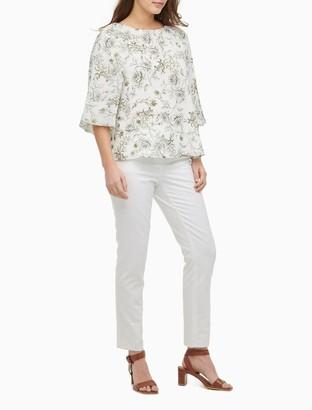 Calvin Klein Printed 3/4 Raglan Kimono Sleeve Top