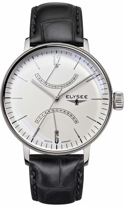 Elysee Sithon Men's Quartz Watch with Beige Dial Analogue Display and Black Leather Strap 13270