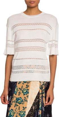 Chloé Short-Sleeve Lace-Stripe Sweater